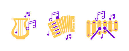 Accordion, Harp instrument, xylophone and musical notes icon set. Entertainment and music icon. String instruments set. Editable rowset. Colored icon set.