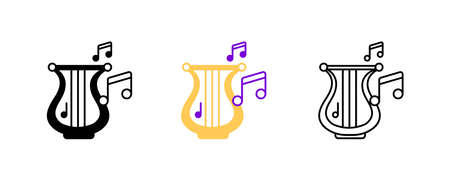 Harp instrument and musical notes icon set. Entertainment and music icon. String instruments set. Editable rowset. Silhouette, colored, linear icon set.