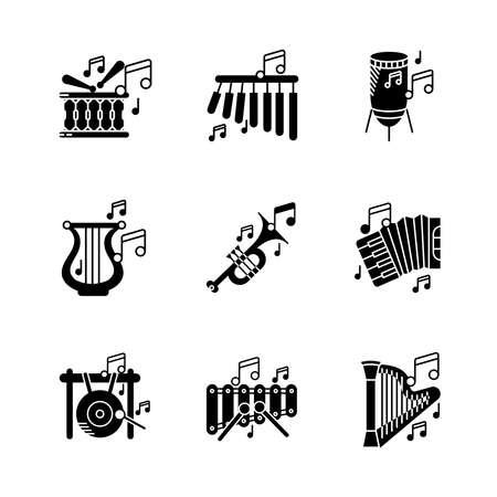 Harp instrument, xylophone, bar chimes, big gong, percussion, accordion and musical notes icon set. Entertainment and music icon. Set of percussion instruments. Editable rowset. Silhouette icon set. Vektoros illusztráció