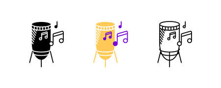 Percussion and musical notes icon set. Entertainment and music icon. Set of percussion instruments. Editable rowset. Silhouette, colored, linear icon set.
