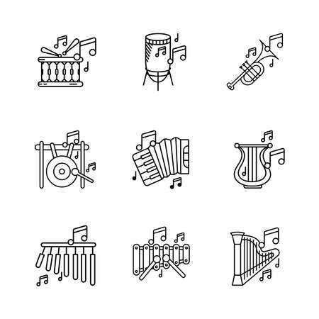 Bar chimes, big gong, percussion, accordion, harp instrument, xylophone and musical notes icon set. Entertainment and music icon. Set of percussion instruments. Editable rowset. Linear icon set.