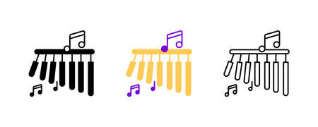 Bar chimes and musical notes icon set. Entertainment and music icon. Set of percussion instruments. Editable rowset. Silhouette, colored, linear icon set.