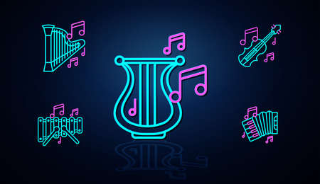 Neon big gong, percussion, bar chimes, harp instrument, accordion and sheet music icon set looks clear. Neon line icon set. Entertainment and percussion-string instruments icon. Neon icon set. Vektoros illusztráció