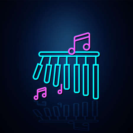 Neon bar chimes and musical notes icon turned on. Neon line icon. Entertainment and karaoke music icon. neon icon.