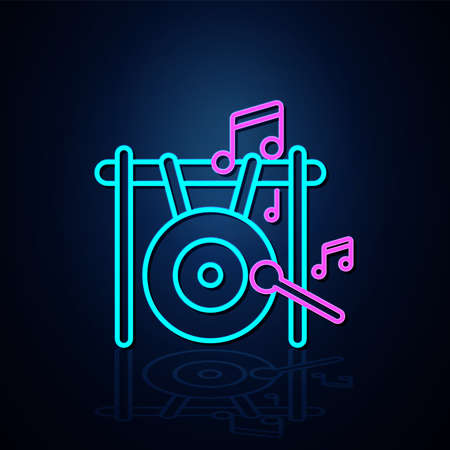 Neon big gong and musical note icon on. Neon line icon. Entertainment and karaoke music icon. neon icon.