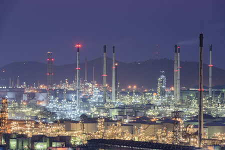 synthesis: night view of the industrial area Stock Photo
