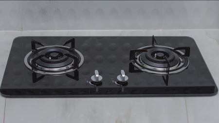 close up of a domestic kitchen gas stove.