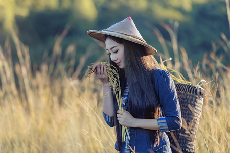 country girl portrait in outdoors,beautiful happy Asian girl smile and laugh together.