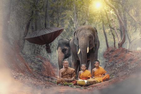 Novice pelgrimstocht alleen naar het bos, Novice monk ging alleen op een bedevaart. Stockfoto