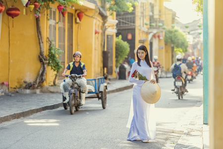 Beautiful woman with vintage style ,Vietnam culture traditional.
