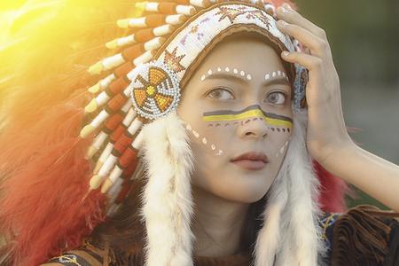 close up of American Indian women hunter,Native American