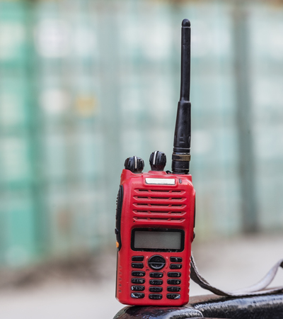 walkie-talkie radio on blur background Stock Photo