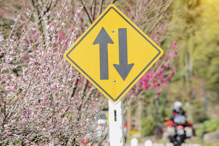 Two-way traffic sign, two-way traffic sign in tourist attraction. Stock Photo