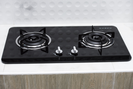 close up of a domestic kitchen gas stove.  Stock fotó