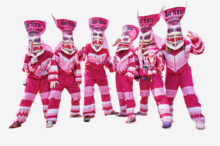 Loei, Thailand,Ghost Mask and Costume Colorful Festival Phi Ta Khon Festival,Pink Ghost Mask.