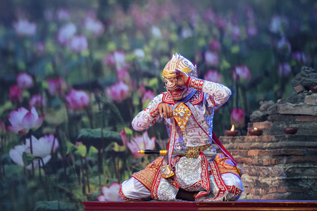 The pantomime(Khon)festival,Thai traditional dance of the Ramayana dance,Thai Pantomime as cultural dancing arts performance in mask dressed based on the character in Ramakien or Ramayana Literature.