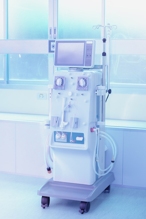 Dialysis machine,A dialysis or hemodialysis machine in an hospital ward, medical equipment concept with copy space,Health care, blood purification, kidney failure, transplantation.
