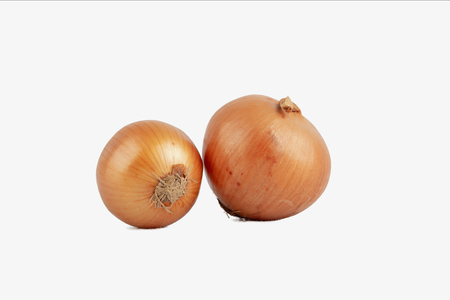 Onions isolated on white background,Close up of golden onion bulb isolated.
