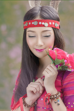 beautiful Tribal girl,tribe in beautiful costume dress,Traditional tribal culture. Stock Photo