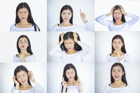 Emotions set.Girl face portraits with different emotions.Anger, happiness,surprise, positive, dissatisfaction,mercy, kiss.Set of emotional girl isolated over white background.Female different emotions