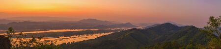 Panoramic landscape of the sea of ​​fog above the Mekong River, Thailand.