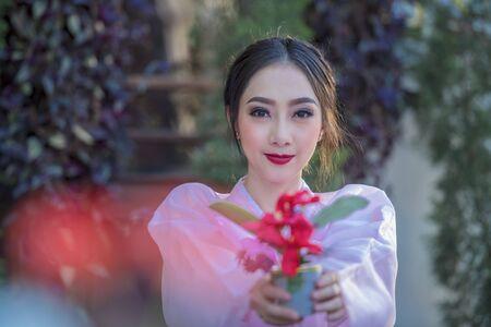 Korean girl in traditional dress, Beautiful Asian girl in traditional Korean dress,Hanbok
