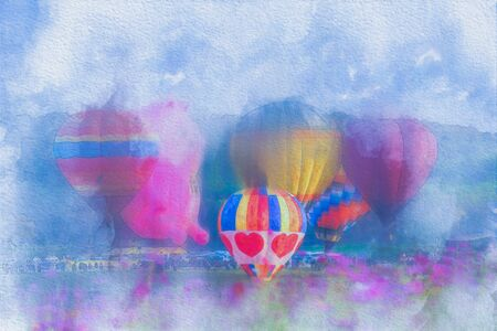 Colorful  watercolor painting balloon above a flower field at a national balloon festival, Natural elements and a blue sky background.