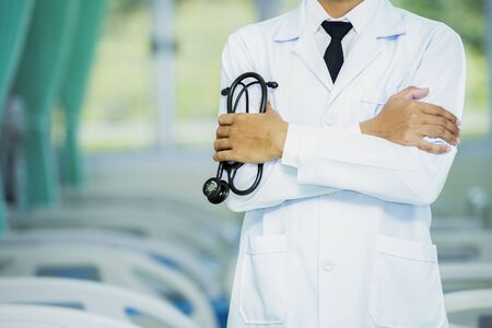 Close Up, Doctor, patient, medical. Doctors and medical tools, Healthcare and medical concept. Medicine doctor with stethoscope in hand.