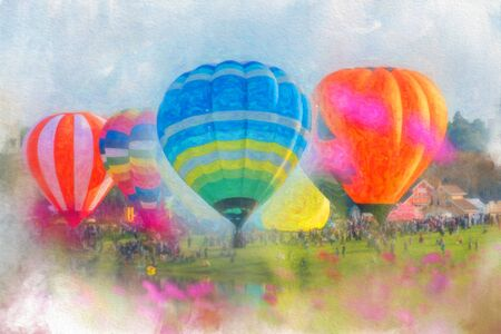 digital Colorful  watercolor painting balloon above a flower field at a national balloon festival, Natural elements and a blue sky background. Banque d'images