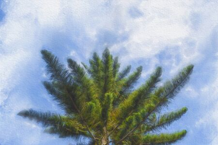 Watercolor painting of green trees against a blue sky background. Banque d'images