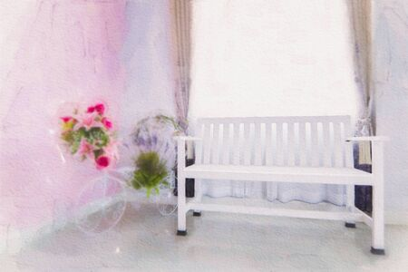 Watercolor painting white chair in the room, Modern designer chair on white background. Interior of living room modern style with fabric sofa and empty white wall.
