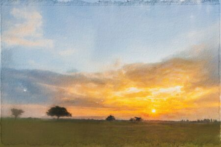 Watercolor painting,Alone tree on meadow with sunset. Beautiful sunset through with tree, magical sunset with tree.