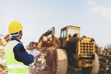 Foreman controls the recycle waste separation of recyclable waste plants. Waste plastic bottles and other types of plastic waste.