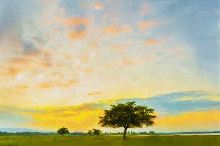 Watercolor painting, Alone tree on meadow with sunset. Beautiful sunset through with tree, magical sunset with tree.