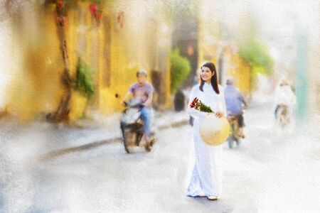 Watercolor painting, Vietnamese women wear hats and dress in traditional Vietnam national costumes. Stock Photo