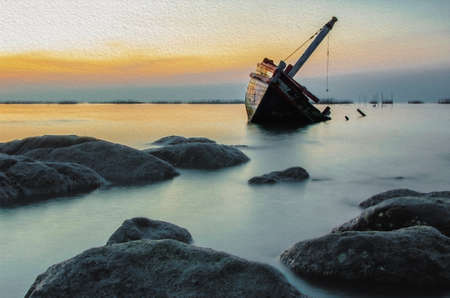 The wreck of an old fishing boat sunk by the sea for a long time. Watercolor painting