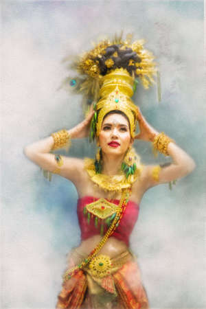 Watercolor paintings, beautiful women wearing traditional Thai clothes.