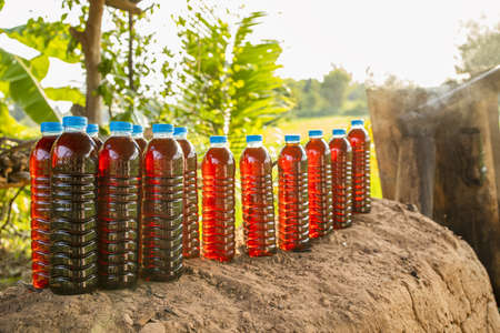 Wood vinegar from charcoal burning by charcoal furnace, Traditional wood charcoal kiln, folk tribes used to burn wood charcoal.