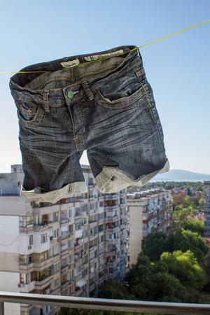clothesline: Shorts on a clothesline Stock Photo