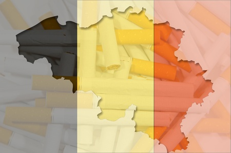Outlined map of Belgium with transparent background of cigarettes and belgian flag photo