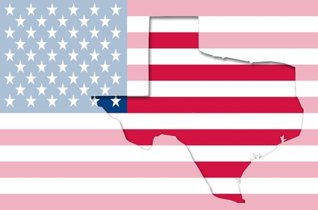 translucent: Transparent outline map of Texas on USA flag
