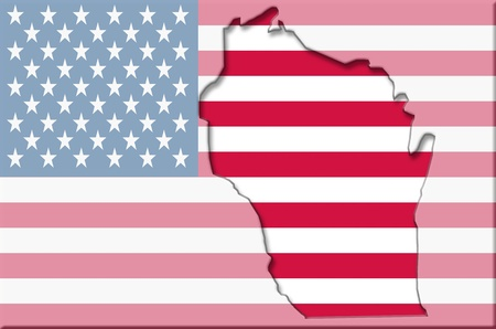 Transparent outline map of Wisconsin on USA flag Imagens