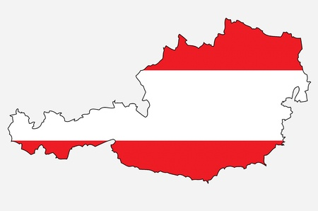 austrian flag: Outlined map of Austria with colors of austrian flag