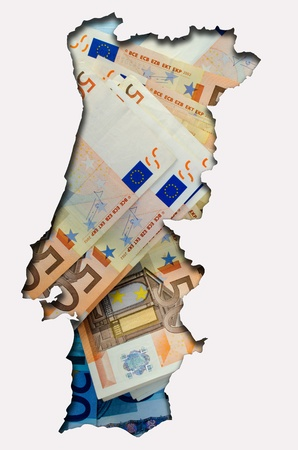 portugese: Outlined map of Portugal with background of euro banknotes