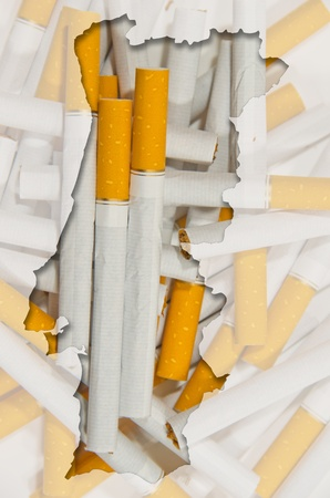 portugese: Outlined map of Portugal with transparent background of cigarettes Stock Photo