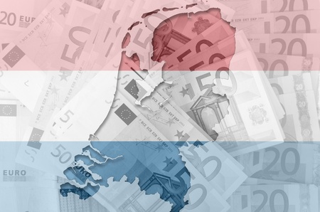 Outlined map of Netherlands with transparent background of euro banknotes and dutch flag photo