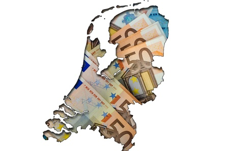 Outlined map of Netherlands with background of euro banknotes photo
