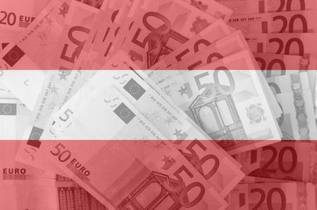 austrian flag: transparent austrian flag with euro banknotes