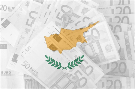 transparent cyprus flag with euro banknotes