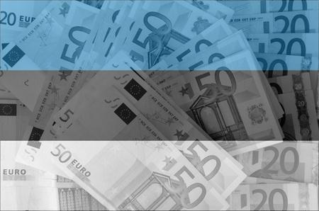 estonian: transparent estonian flag with euro banknotes
